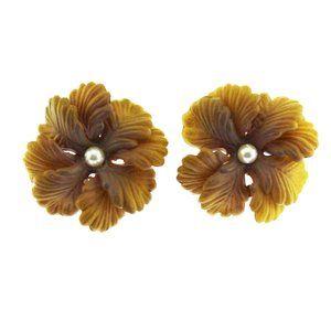 Vintage Brown Flower Earrings